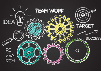 Free Team Work Concept Illustration Vector - vector gratuit #388439