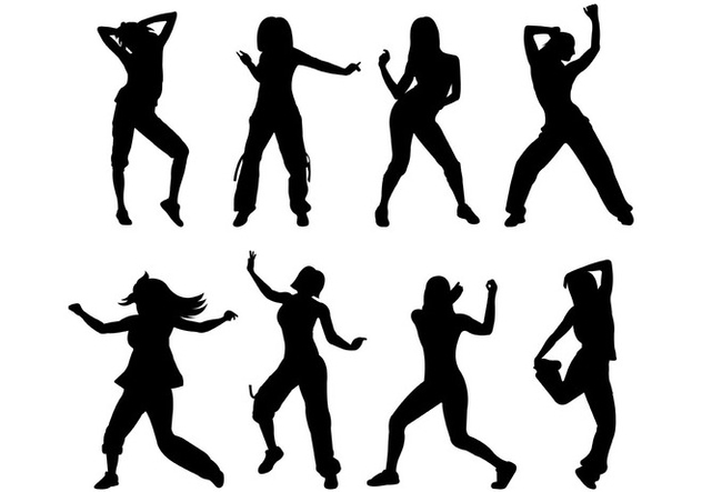 vector silhouette of zumba motion free vector download