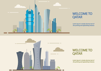Qatar building flat design - бесплатный vector #388889