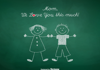 Free Mom We Love You Vector Illustration - бесплатный vector #389099
