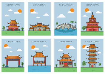 China Town Posters - vector gratuit #389129