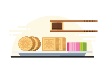 Mooncake Illustration - vector #389269 gratis