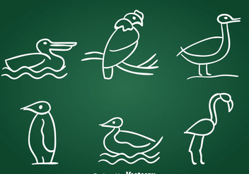 Hand Drawn Birds Vector Set - Free vector #389519