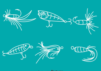 White Line Fishing Bait Vector - vector gratuit #389529