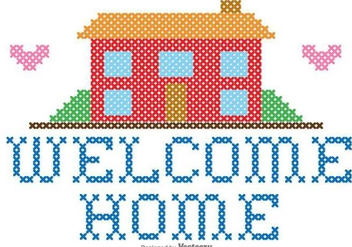 Welcome Home Embroidery Vector Graphic - Kostenloses vector #389599