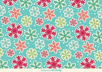 Cartoony Snowflakes Vector Pattern - Kostenloses vector #389609