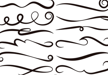 Vector Set Of Black Swishes - Free vector #389619
