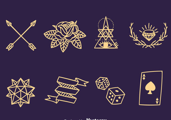 Old School Line Tattoo Collection Vector - Kostenloses vector #389649