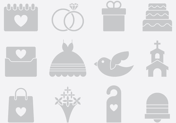 Gray Wedding Icons - Free vector #389709