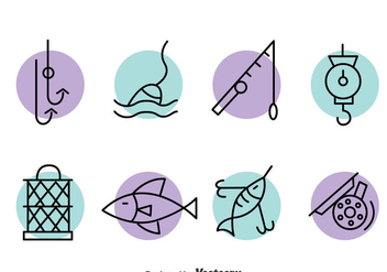 Fishing Element Line Icons Vector - Free vector #389759