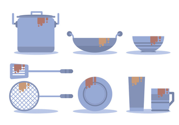 Dirty Dishes Vector Set - vector gratuit #389939