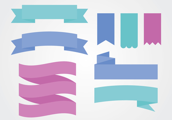 Flat Colorful Ribbon Sash Banner Vectors - vector gratuit #390069