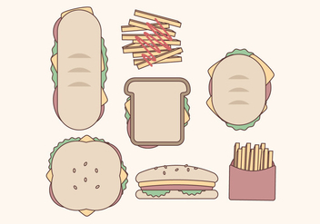 Vector Sandwiches Collection - бесплатный vector #390229
