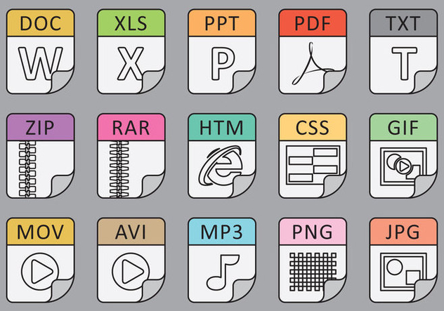 File Types Line Icons - бесплатный vector #390429