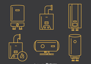 Boiler Line Icons Vector - Free vector #390519
