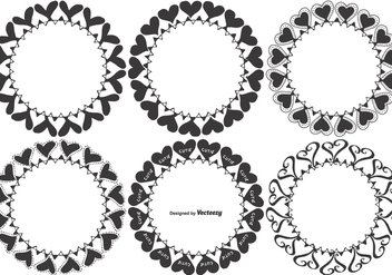 Hand Drawn Vector Heart Frames - vector gratuit #390549
