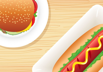 Burger and Hotdog - Free vector #390609