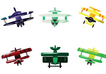 Front View Biplane Vector - Free vector #390629