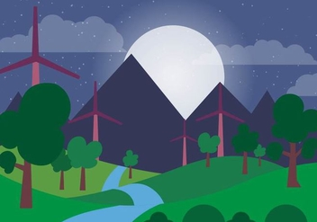 Green Energy Vector Night Landscape - vector gratuit #390969