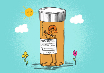 Prescription Bottle Girl - бесплатный vector #391159