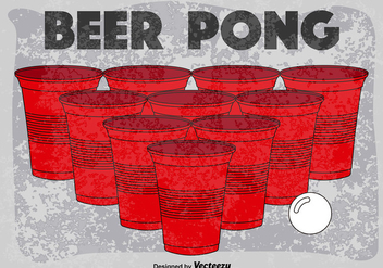 Vector Retro Poster Of Beer Pong Game - vector gratuit #391179