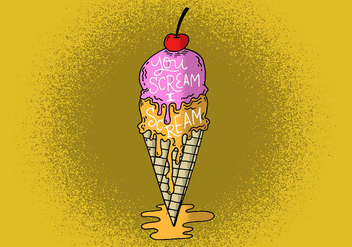 Drippy Ice cream cone - бесплатный vector #391209