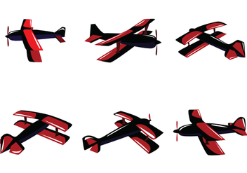 Red Biplane Vector - Free vector #391219
