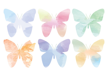 Vector Watercolor Butterflies - бесплатный vector #391259