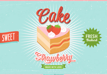 Free Strawberry Shortcake Retro Vector Poster - Free vector #391319