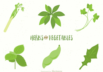 Free Vegetables And Herbs Vectors - Kostenloses vector #391359