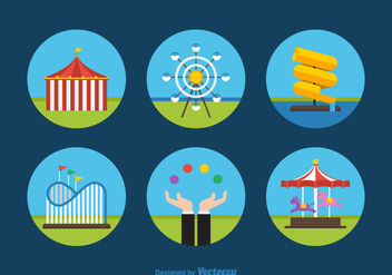 Free Flat Amusement Park Vector Icons - Kostenloses vector #391369