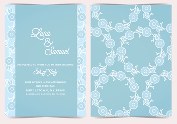 Blue Flower Vector Wedding Invite - vector gratuit #391399