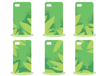 Green Jungle Phone Case Pattern Vector Set - Free vector #391569