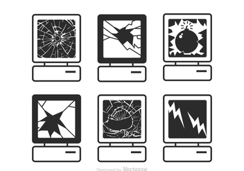 Free Vector Computer Broken Screen Icons - бесплатный vector #391809