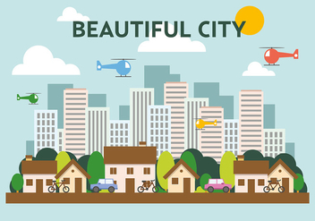 Suburban Flat Cityscape Vector Illustration - Free vector #391959
