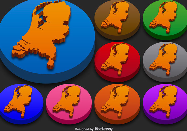 Netherlands State Vector 3D Silhouettes Colorful Netherlands Icon Buttons - Kostenloses vector #392129