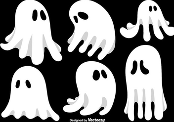 Cartoon Ghosts Vector Set - Free vector #392139