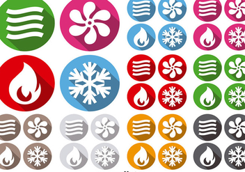 HVAC Icons Climate Control Technology Vector Signs - vector gratuit #392179