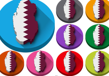 Vector Set Of Qatar State Silhouette Buttons - Free vector #392199