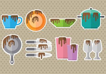 Dirty Dishes Icons - vector #392229 gratis