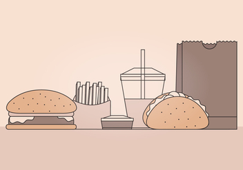 Vector Fast Food Illustration - vector #392329 gratis