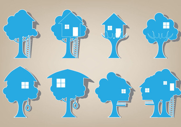 Tree House Icon Vector Set - бесплатный vector #392399