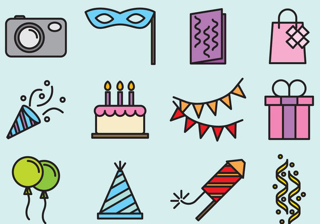 Cute Party Icons - vector #392409 gratis