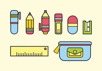 Flat Design Stationary Vector - Free vector #392569