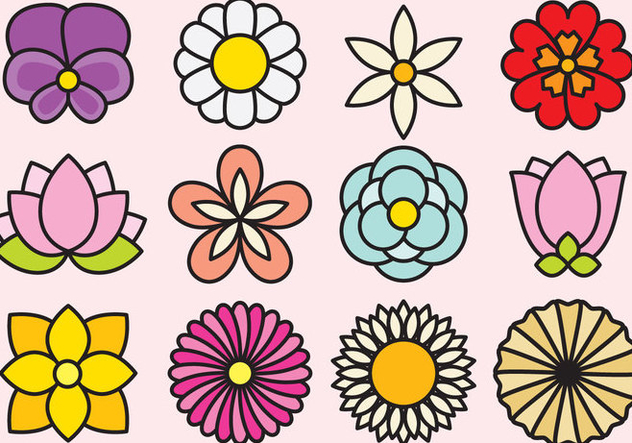 Cute Flowers Icons - бесплатный vector #392909