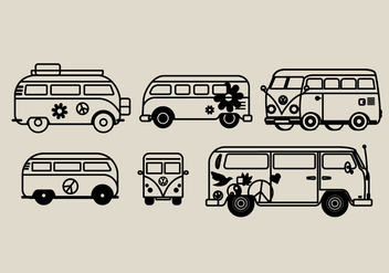 Hippie Bus Vector Illustrations - бесплатный vector #393189