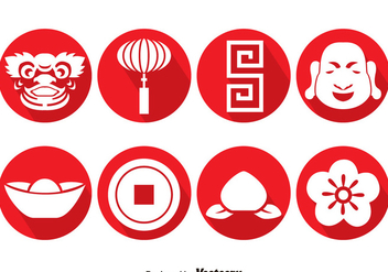 Chinese Culture Circle Icons Vector - Free vector #393319