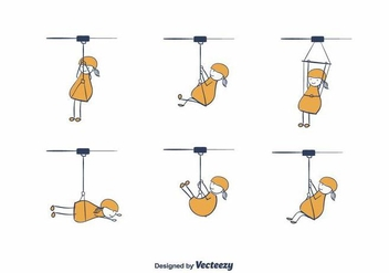 Cartoon Zipline Vector - Free vector #393369