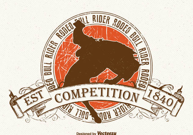Free Bull Rider Vintage Vector Illustration - Free vector #393629