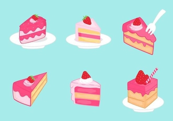 Strawberry Shortcake Slice Vector Pack - Free vector #393669